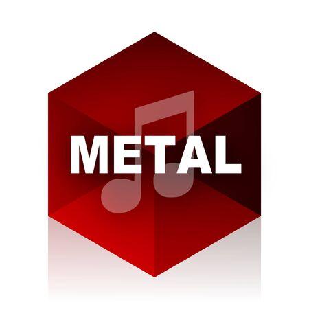live stream radio: metal music red cube 3d modern design icon on white background