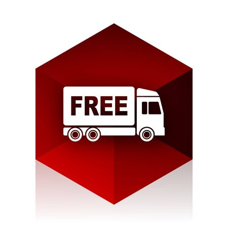deliverance: free delivery red cube 3d modern design icon on white background