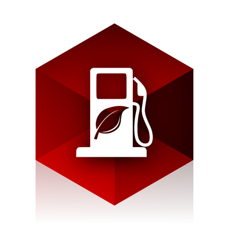 biofuel: biofuel red cube 3d modern design icon on white background