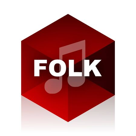 folk music: folk music red cube 3d modern design icon on white background