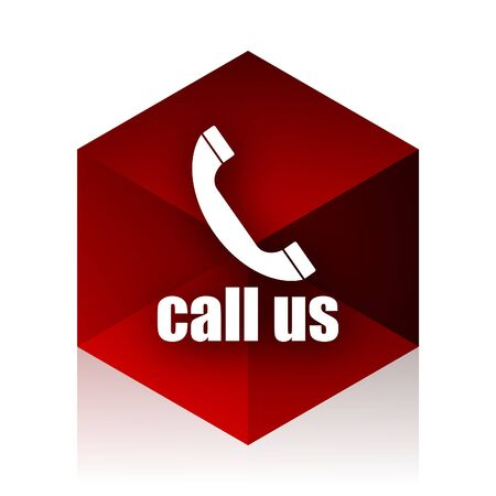 call us: call us red cube 3d modern design icon on white background