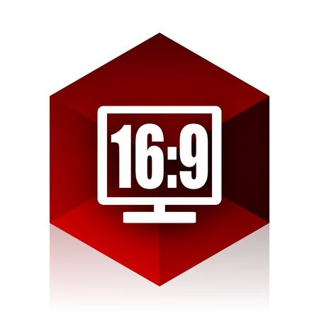 16 9: 16 9 display red cube 3d modern design icon on white background