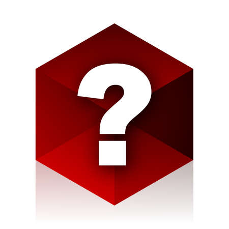 questioning: question mark red cube 3d modern design icon on white background