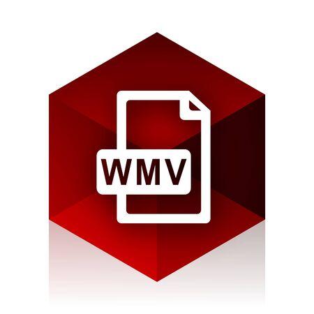 wmv: wmv file red cube 3d modern design icon on white background Stock Photo