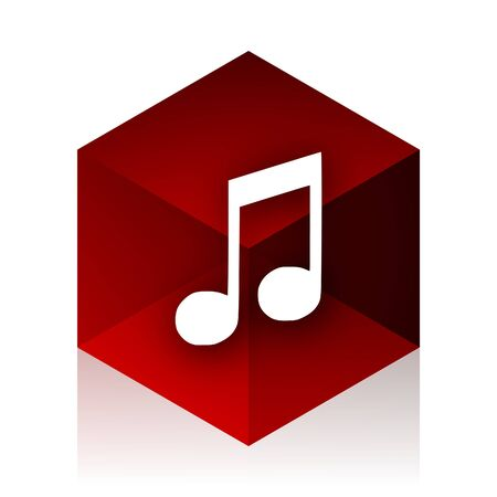 red cube: music red cube 3d modern design icon on white background