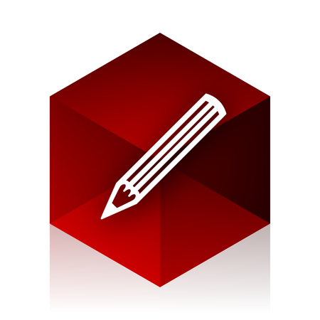 red cube: pencil red cube 3d modern design icon on white background
