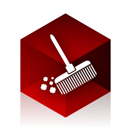 cleansing: broom red cube 3d modern design icon on white background