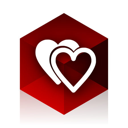 internet dating: love red cube 3d modern design icon on white background Stock Photo