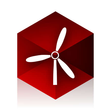 red cube: windmill red cube 3d modern design icon on white background