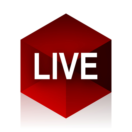 news cast: live red cube 3d modern design icon on white background