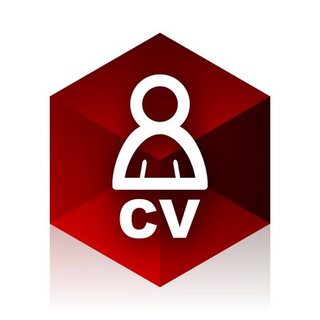 job descriptions: cv red cube 3d modern design icon on white background Stock Photo