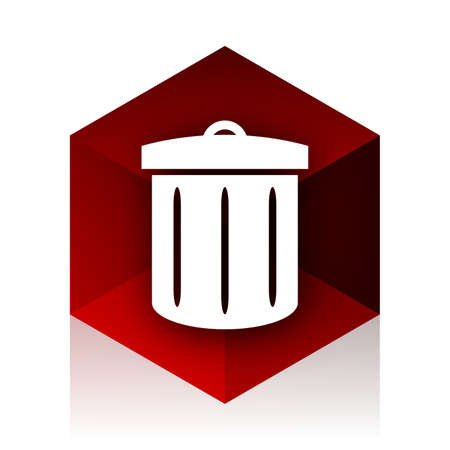 red cube: recycle red cube 3d modern design icon on white background Stock Photo