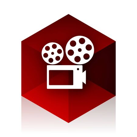 cinematographic: movie red cube 3d modern design icon on white background