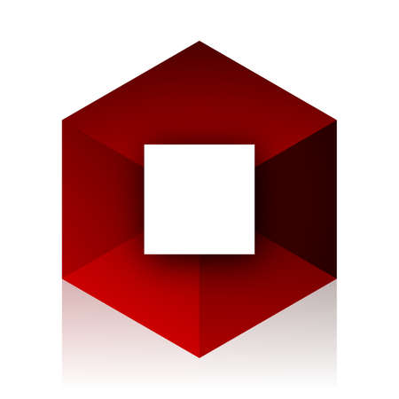 red cube: stop red cube 3d modern design icon on white background