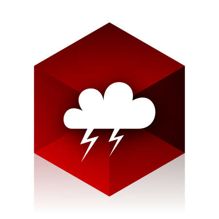 red cube: storm red cube 3d modern design icon on white background