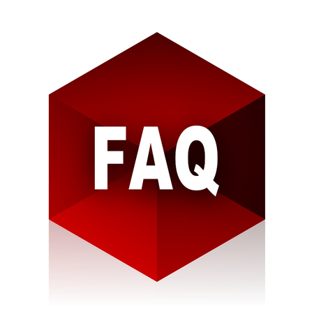 red cube: faq red cube 3d modern design icon on white background