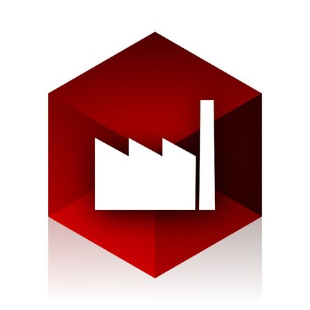 industrialist: factory red cube 3d modern design icon on white background