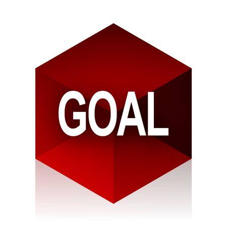 GOALS: meta cubo rojo 3d icono del diseño moderno en el fondo blanco