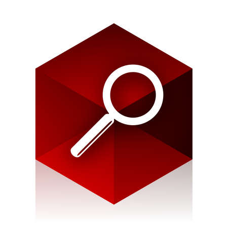 red cube: search red cube 3d modern design icon on white background