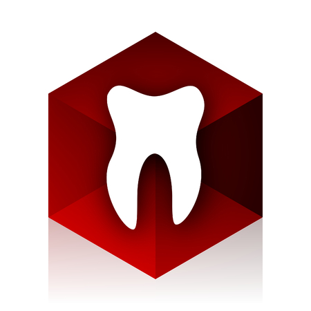 red cube: tooth red cube 3d modern design icon on white background Stock Photo