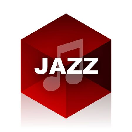 live stream sign: jazz music red cube 3d modern design icon on white background