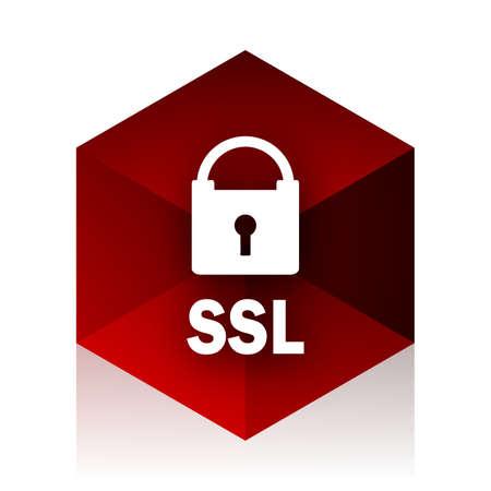 ssl: ssl red cube 3d modern design icon on white background Stock Photo