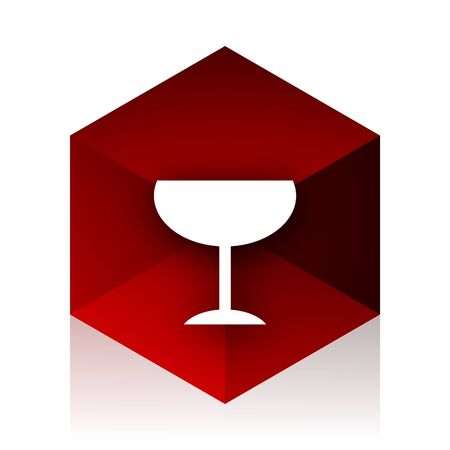 champain: alcohol  red cube 3d modern design icon on white background