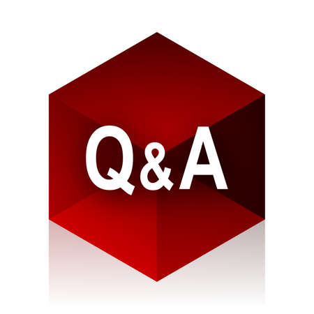 question and answer: question answer red cube 3d modern design icon on white background Stock Photo