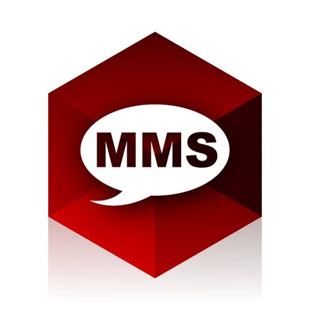 mms: mms red cube 3d modern design icon on white background Stock Photo