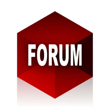 red cube: forum red cube 3d modern design icon on white background