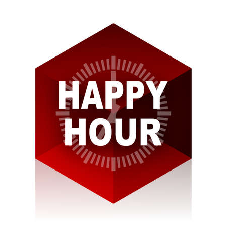 happy hour drink: happy hour red cube 3d modern design icon on white background Stock Photo