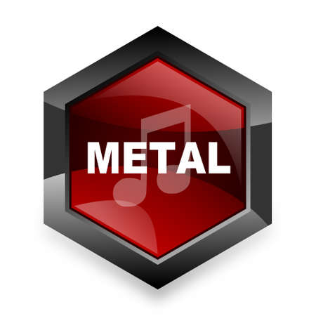 metal music: metal music red hexagon 3d modern design icon on white background Stock Photo