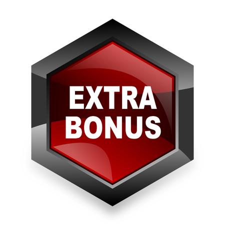 discounting: extra bonus red hexagon 3d modern design icon on white background