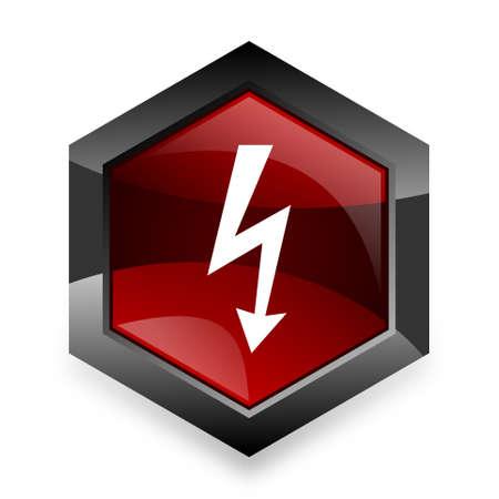 3d  bolt: bolt red hexagon 3d modern design icon on white background