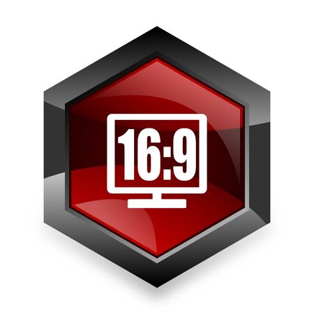 16 9 display: 16 9 display red hexagon 3d modern design icon on white background