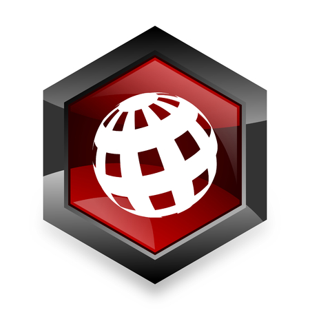 parallel world: earth red hexagon 3d modern design icon on white background