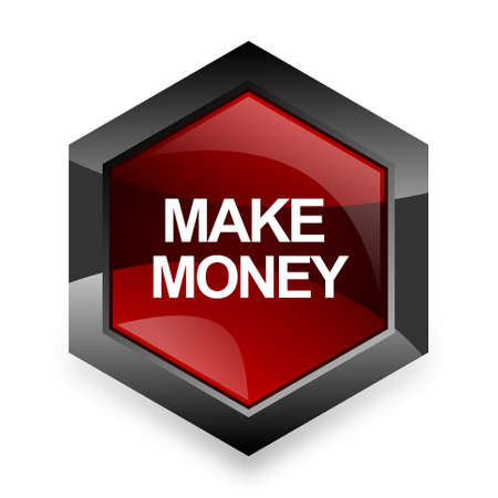 make money: make money red hexagon 3d modern design icon on white background