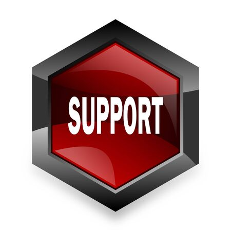 advisor: support red hexagon 3d modern design icon on white background