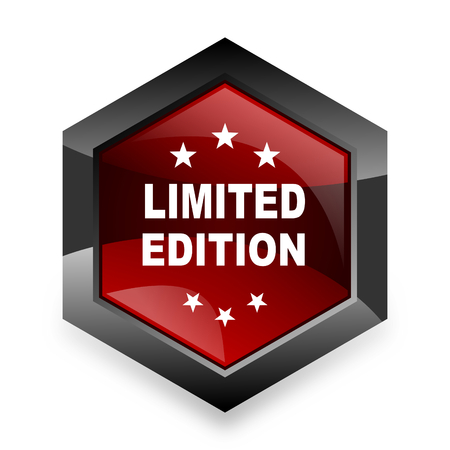 limited edition: limited edition red hexagon 3d modern design icon on white background