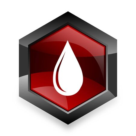 drinkable: water drop red hexagon 3d modern design icon on white background