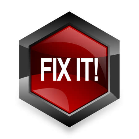 it professional: fix it red hexagon 3d modern design icon on white background Stock Photo