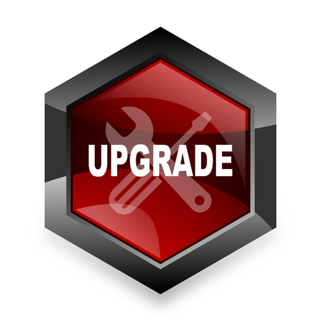 refreshed: upgrade red hexagon 3d modern design icon on white background