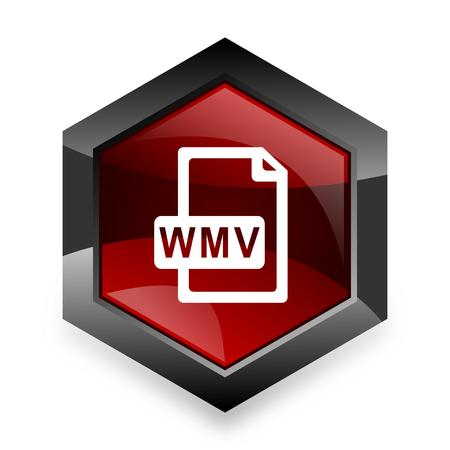 wmv: wmv file red hexagon 3d modern design icon on white background