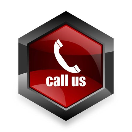 call us: call us red hexagon 3d modern design icon on white background Stock Photo