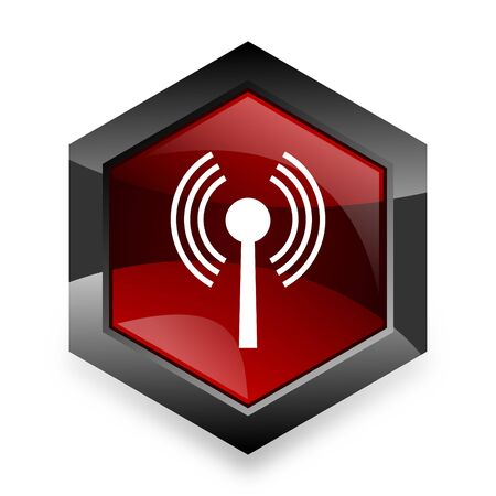 movable: wifi red hexagon 3d modern design icon on white background