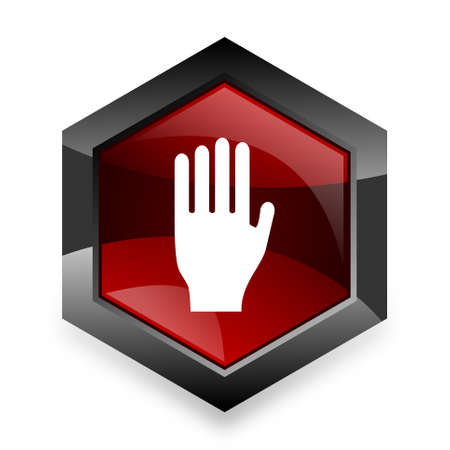 entrance is forbidden: stop red hexagon 3d modern design icon on white background