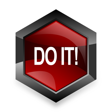 just do it: do it red hexagon 3d modern design icon on white background