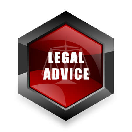 judiciary: legal advice red hexagon 3d modern design icon on white background