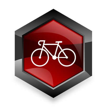 original bike: bicycle red hexagon 3d modern design icon on white background Stock Photo