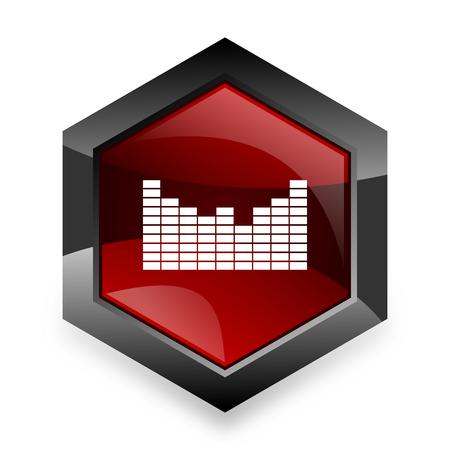 red sound: sound red hexagon 3d modern design icon on white background